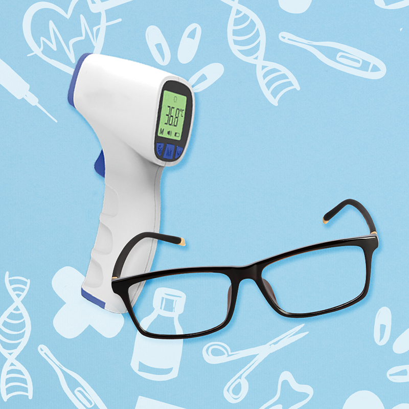 [Anti-epidemic Set] JUMPER Thermometer + Bluelight Glasses for Adult (Square)